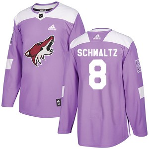 Youth Adidas Arizona Coyotes Nick Schmaltz Purple Fights Cancer Practice Jersey - Authentic